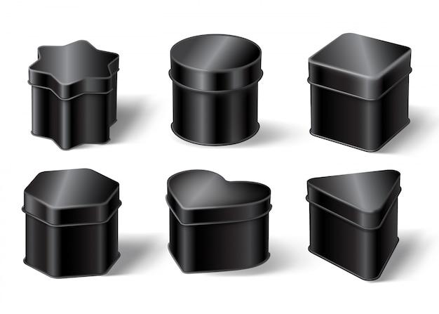 Caixas de lata preta Vetor grátis