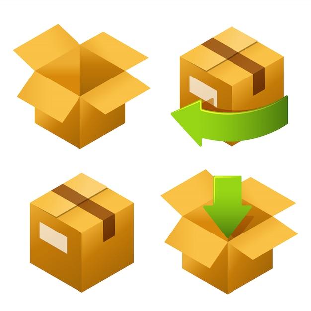 Caixas de papelão isométricas defina ícones. Vetor Premium