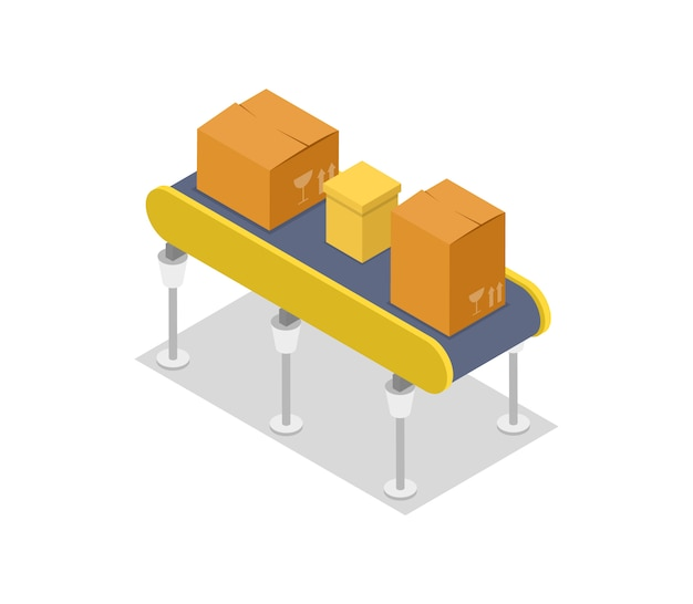 Caixas de papelão na ilustração 3d isométrica de transportadora Vetor Premium