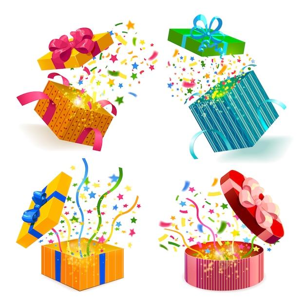 Caixas de presente e conjunto de confetes Vetor grátis