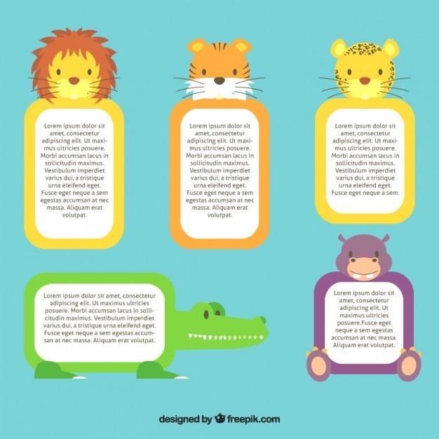 Amado Caixas de texto com os animais selvagens bonitos | Baixar vetores  ZZ35