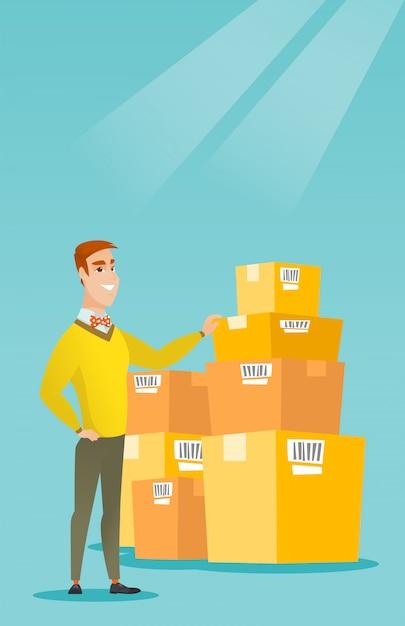 Caixas de verificação do homem de negócio no armazém. Vetor Premium