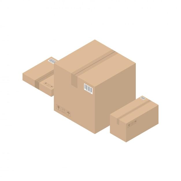 Caixas marrons de papelão isométricas Vetor Premium