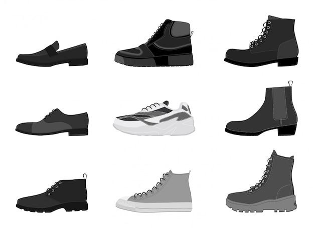 Calçados dos homens da coleção isolados no fundo branco. conjunto de botas de homens Vetor Premium