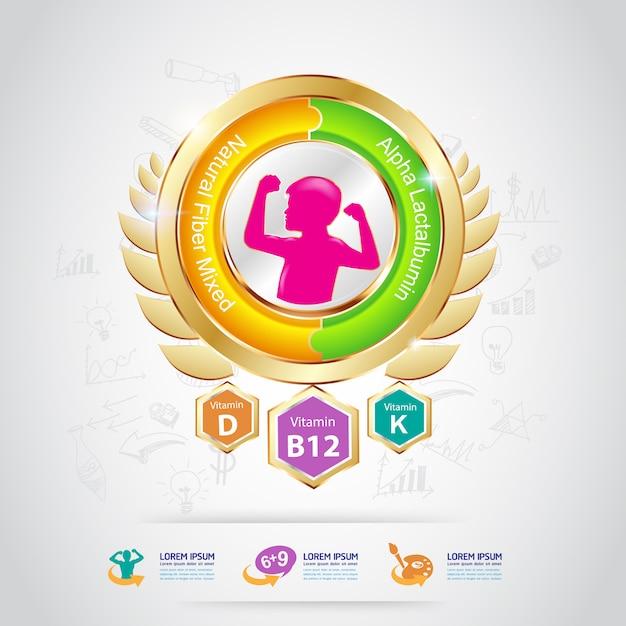 Cálcio e vitamina para crianças - concept logo gold kids Vetor Premium