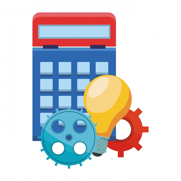 Calculadora com engrenagens e grande ideia Vetor Premium