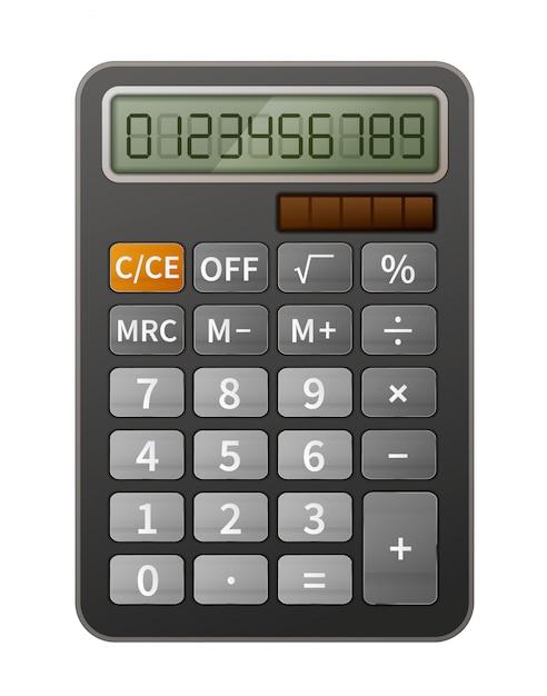 Calculadora realista brilhante Vetor Premium