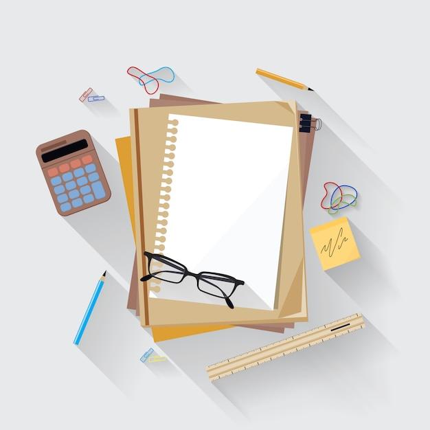 Calculadora, régua e ícone de página de papel em uma mesa de escritório Vetor Premium
