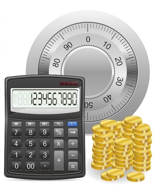 Calculadora segura e ilustração em vetor conceito moedas de ouro Vetor Premium