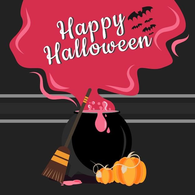 Caldeirão com vapor e banner de halloween Vetor Premium