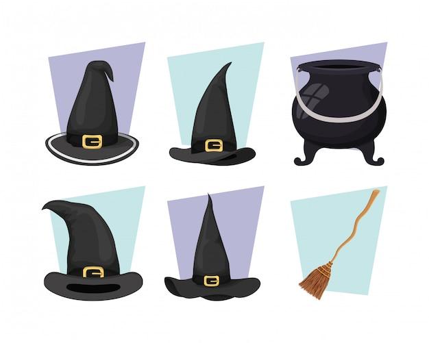 Caldeirão de bruxa e chapéu com ícones de vassoura Vetor Premium