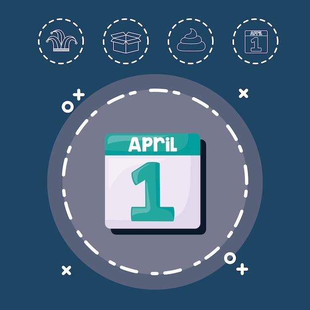 Calendar and aprils fools day ícones relacionados Vetor Premium