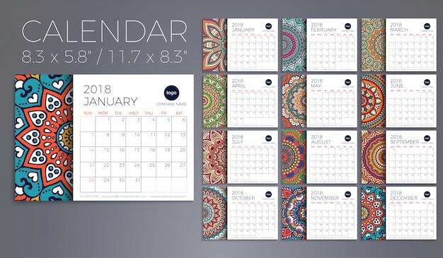 Calendário 2018. elementos decorativos vintage. padrão oriental, ilustração vetorial. Vetor grátis
