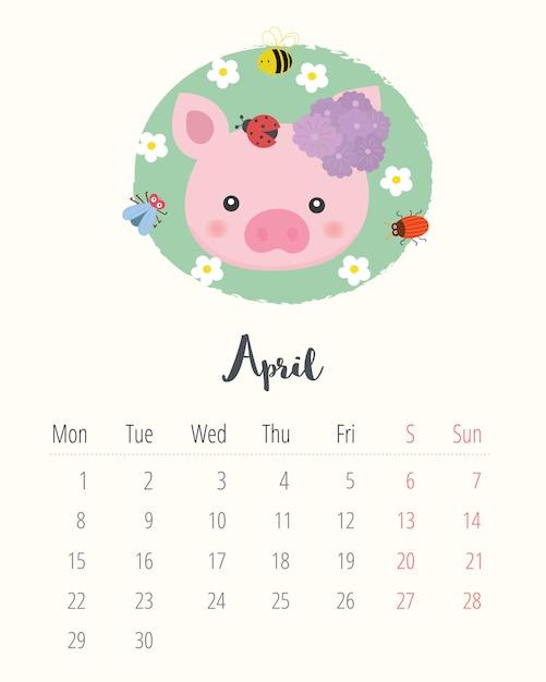 Calendário 2019. porco bonito. mês de abril. Vetor Premium