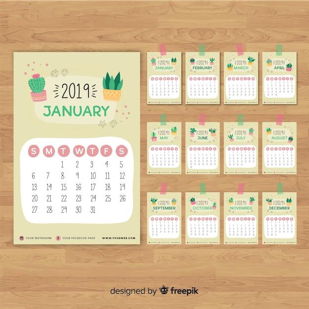 Calendário 2019 Vetor grátis