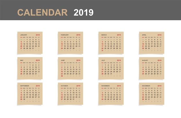 Calendário 2019. Vetor Premium