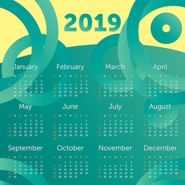 Calendário 2019 Vetor Premium