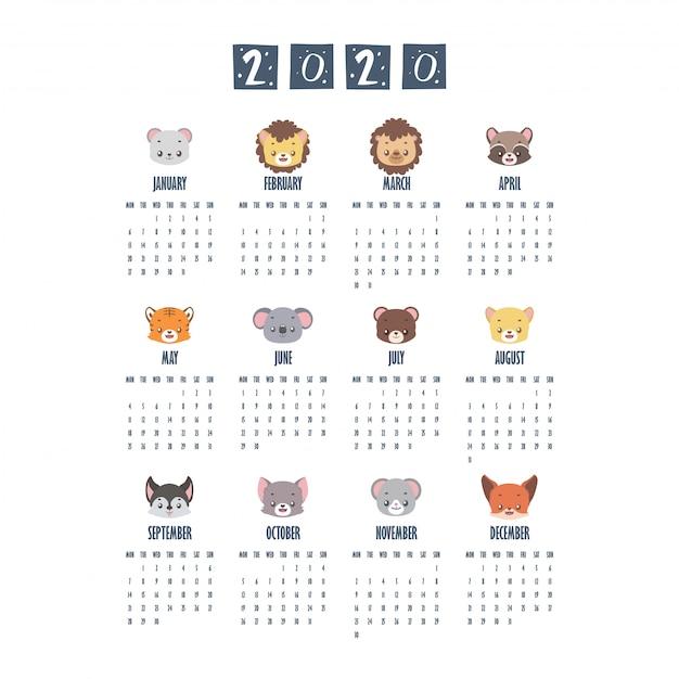 Calendário 2020 com animais fofos Vetor Premium