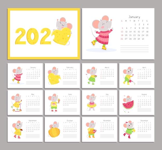Calendário 2020 com conjunto de modelos de vetor plana de ratos Vetor Premium