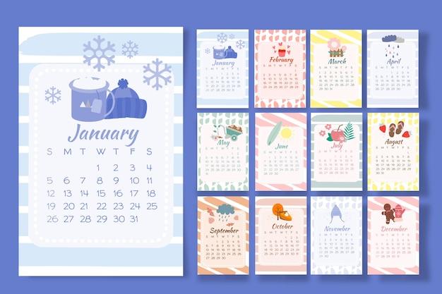 Calendário 2020 com elementos sazonais Vetor grátis