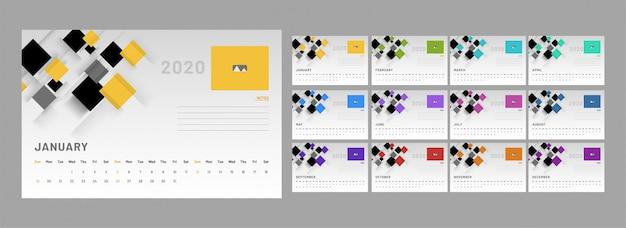 Calendário 2020, conjunto de layout de cartaz de 12 meses com elementos abstratos Vetor Premium