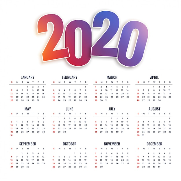Calendário 2020 feliz ano novo Vetor grátis