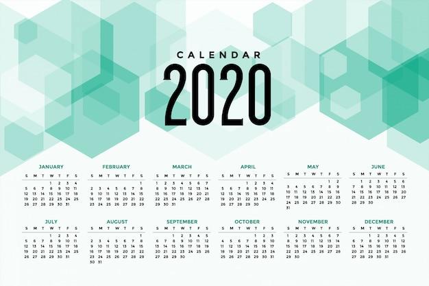 Calendário 2020 Vetor grátis