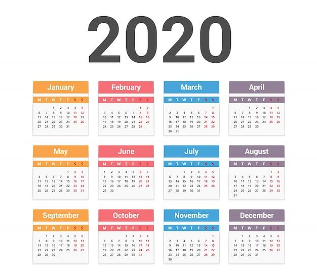Calendário 2020 Vetor Premium
