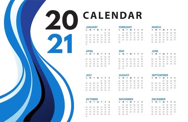 Calendário abstrato ondulado azul 2021 Vetor grátis
