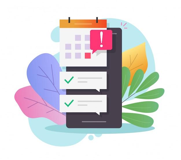 Calendário agendado on-line para celular com data importante de prazo Vetor Premium