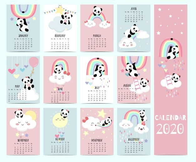 Calendário animal 2020 com panda, urso, arco-íris para crianças. Vetor Premium