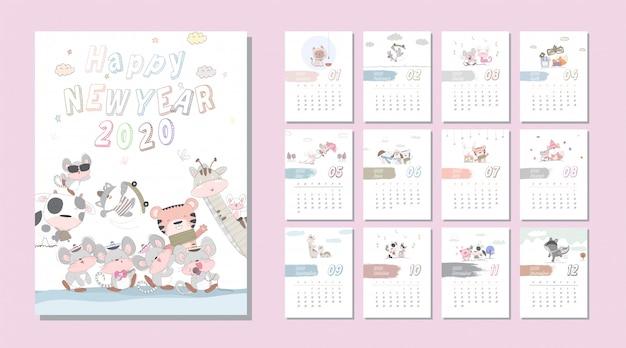 Calendario Animal Bonito Dos Desenhos Animados Conjunto 2020