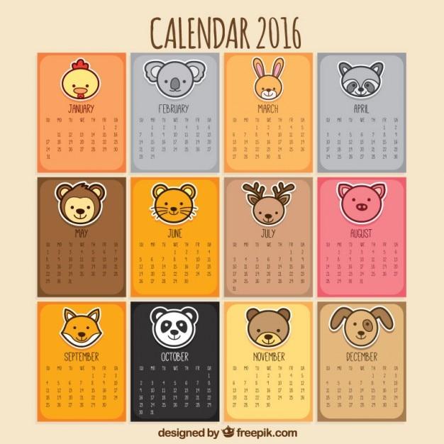 Calendário animal Vetor grátis