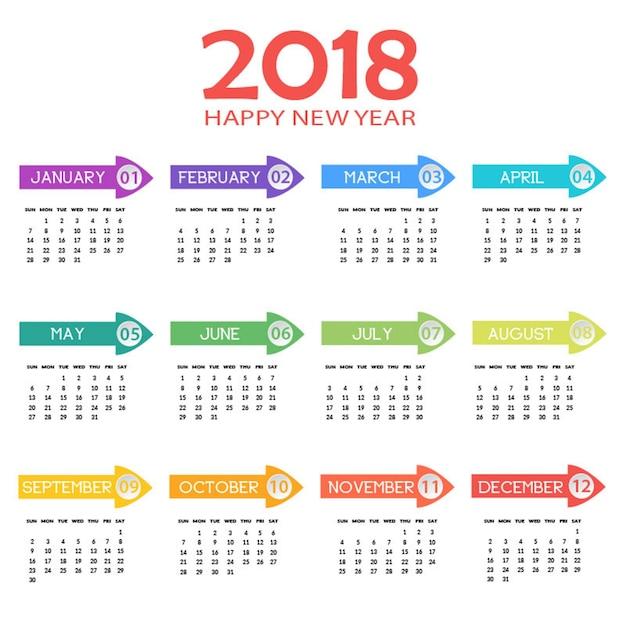 Calendário anual 2018 Vetor Premium