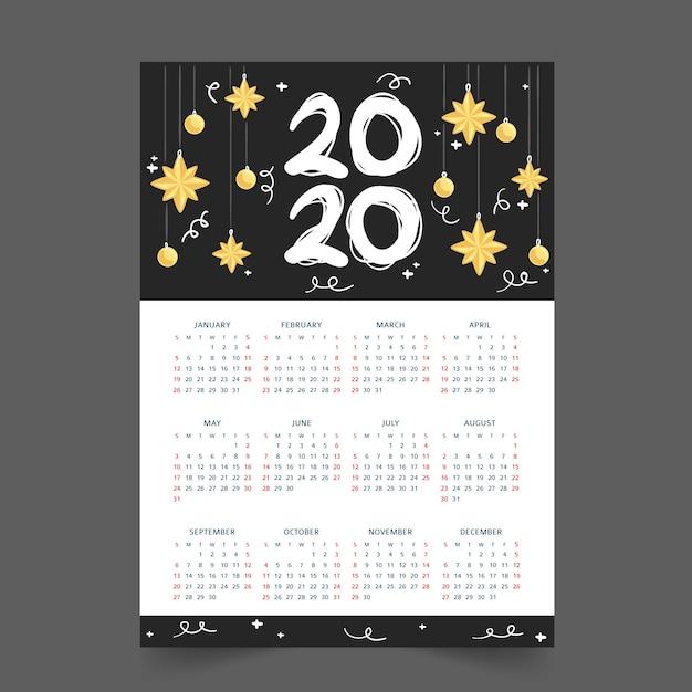 Calendário anual 2020 Vetor grátis