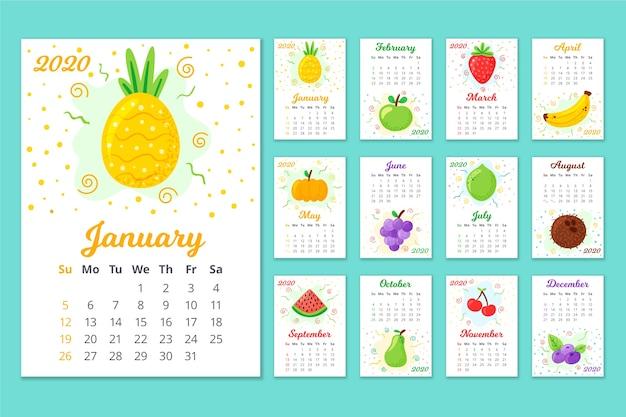 Calendário anual colorido 2020 Vetor Premium