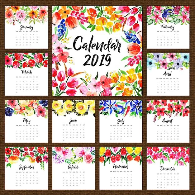 Calendário Anual Floral Da Aguarela 2019