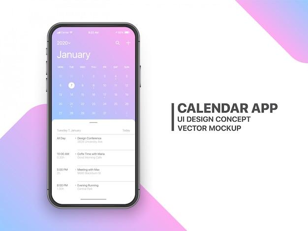 Calendário app ui ux concept página janeiro Vetor Premium