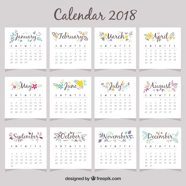 Calendário bonito de 2018 Vetor grátis