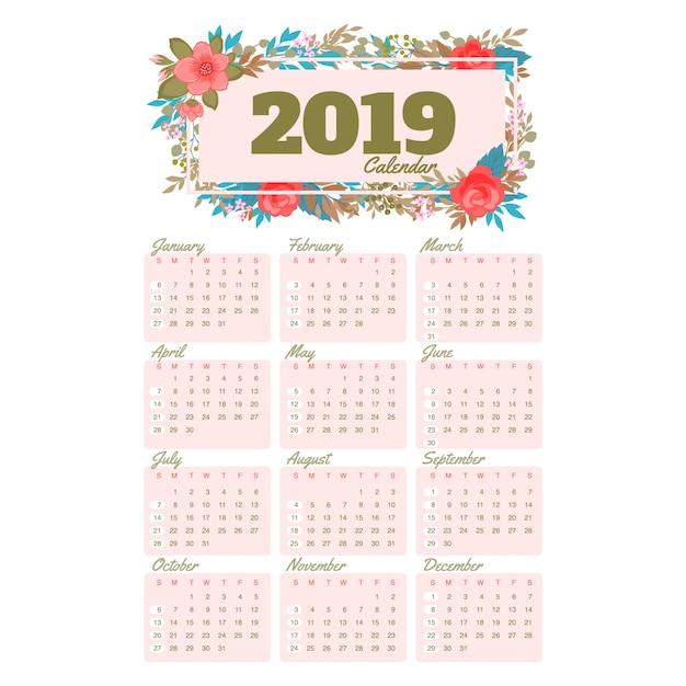 Calendario Dezembro 2019 Bonito.Calendario Bonito Para 2019 Ano Baixar Vetores Premium