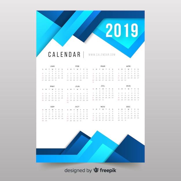 Calendário colorido das formas 2019 abstratas Vetor grátis