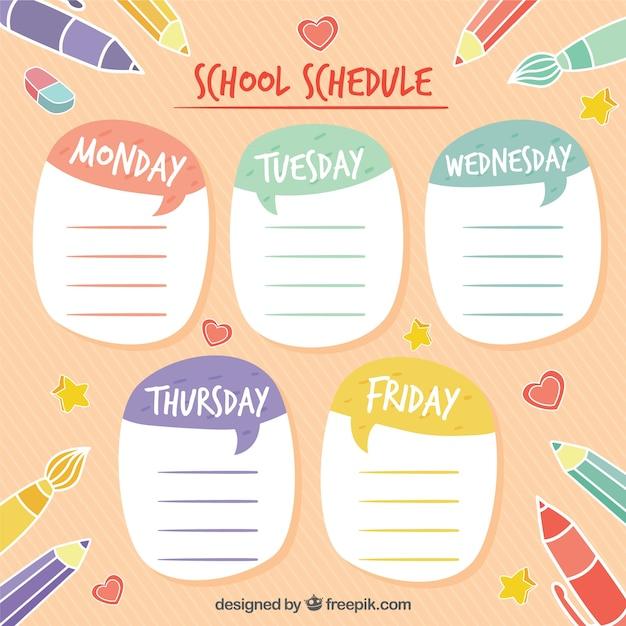 Calendário colorido escola com fundo rosa Vetor grátis