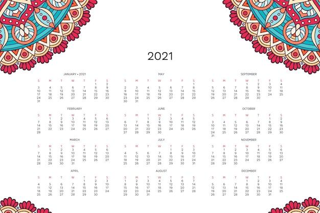 Calendário com mandalas. Vetor grátis