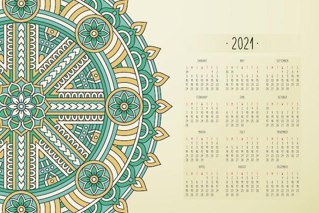 Calendário com ornamento de estilo escuro de mandalas Vetor grátis