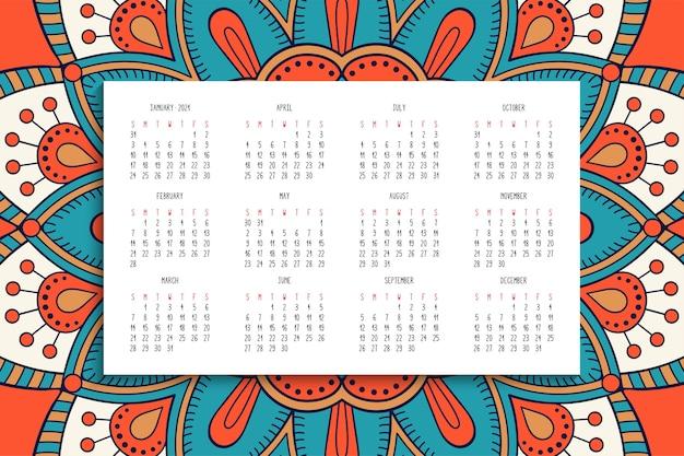 Calendário com ornamento de mandalas Vetor grátis