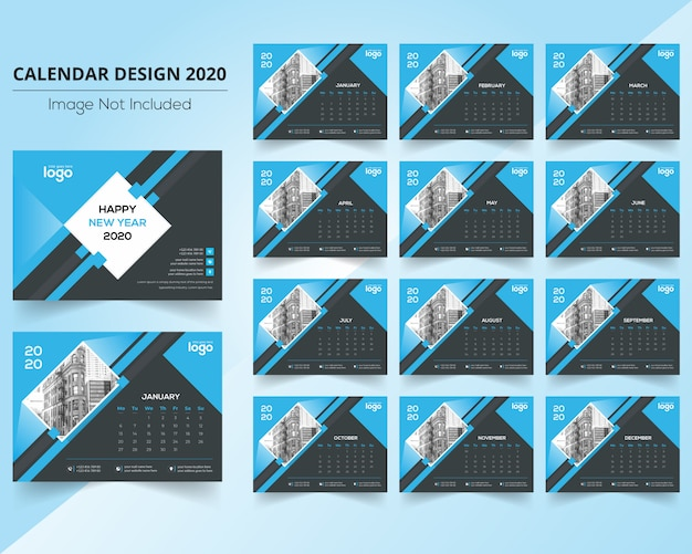 Calendário corporativo 2020 Vetor Premium