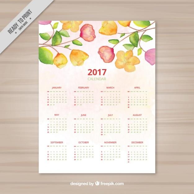 Calendário da aguarela com diferentes tipos de flores Vetor grátis