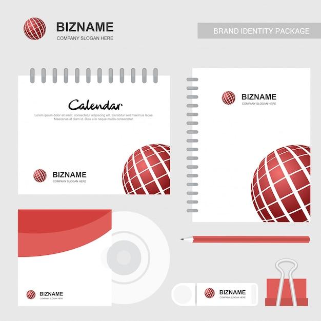 Calendário da empresa com um design exclusivo e logotipo vector Vetor Premium