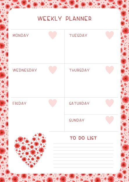 Calendário da semana e flores e corações vermelhos do rastreador de hábitos. projeto do calendário com flores silvestres e pétalas. página em branco do organizador de tarefas pessoais para planejador Vetor grátis