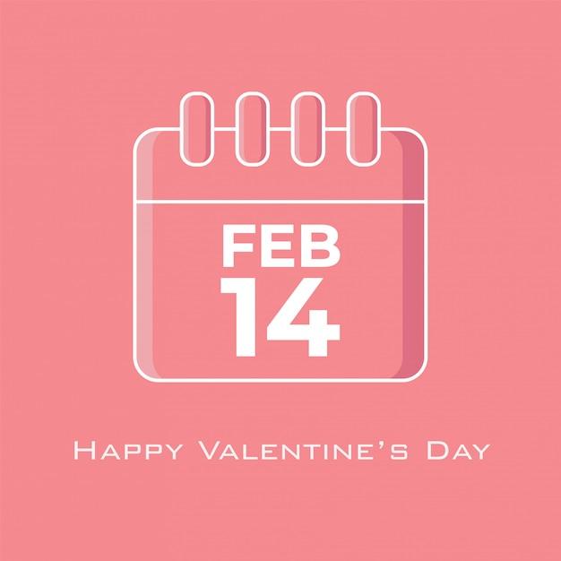 Calendário de 14 de fevereiro na cor rosa tom em estilo design plano Vetor Premium